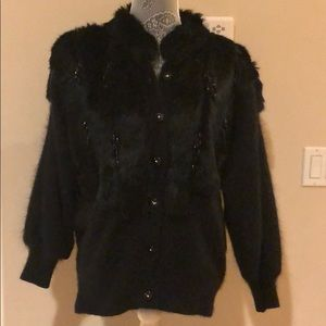 Jackets & Blazers - VTG black Angora Rabbit fur sweater jacket.
